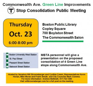 Comm. Ave. Green Line Improvements Meeting Flyer